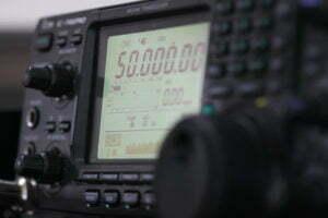 Amateur radio station: closeup of an a radio transceiver