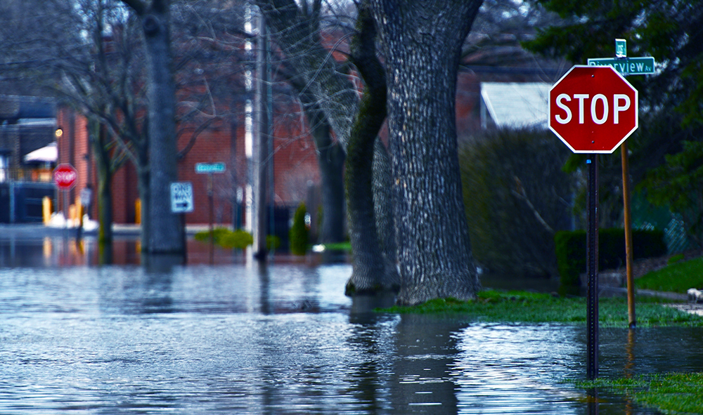 A flooded residential street.